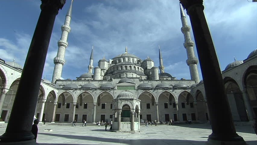 Sultan Ahmet Mosque. Blue Mosque in Istanbul. Camera is moving to inside of