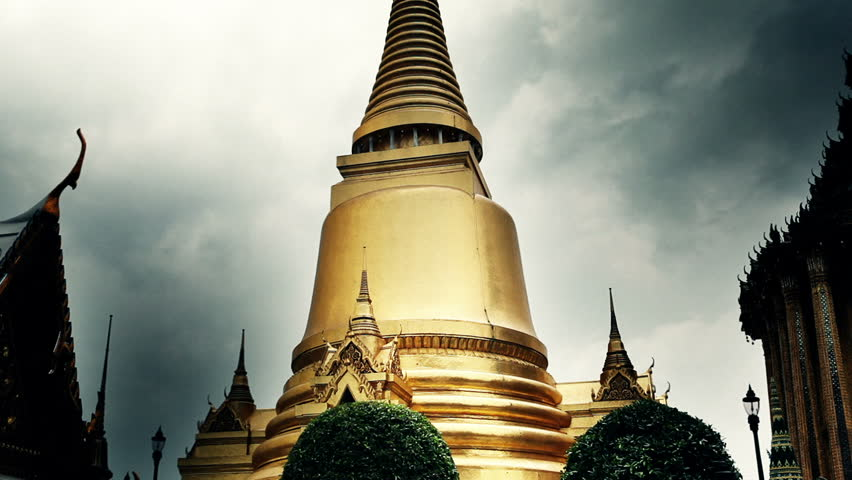 Richly decorated golden buildings of grand palace temple in Bangkok - HD stock video clip
