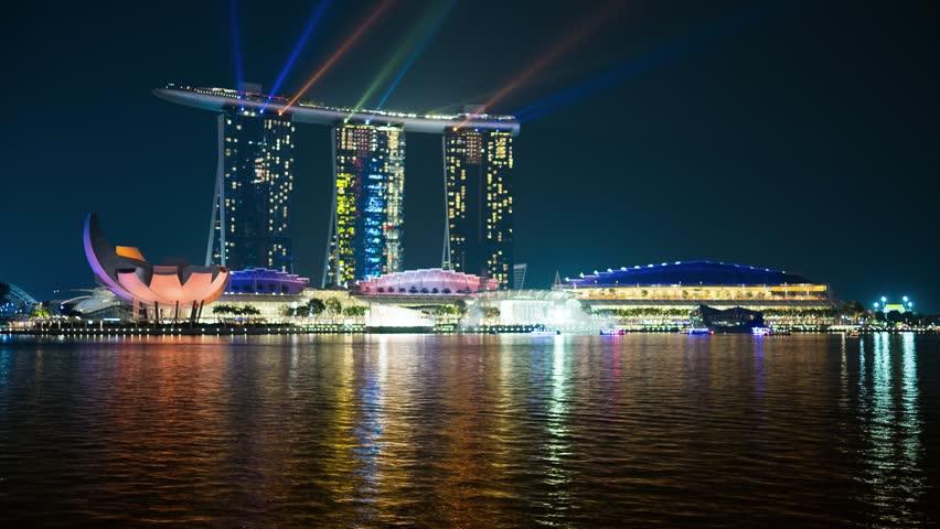 Singapore - Nov 13: 4k UHD time-lapse of illuminated Marina Bay Sands Resort. November 13, 2015
