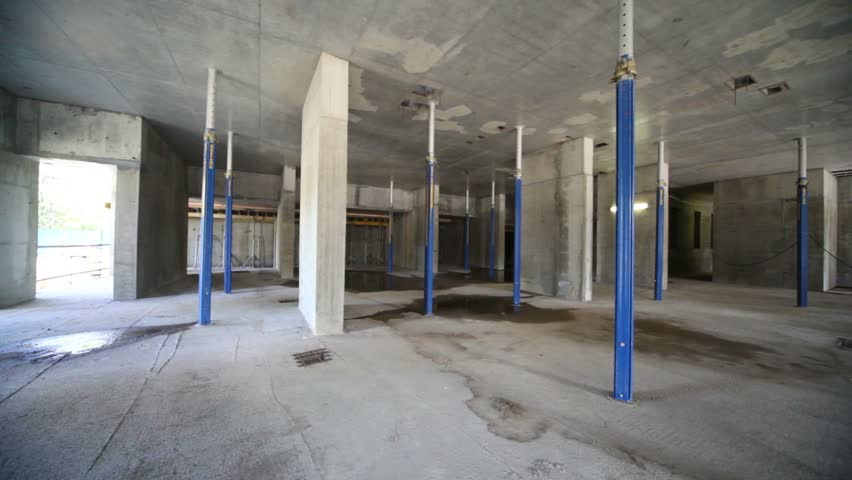Panorama of unfinished room at construction site, is shown inside