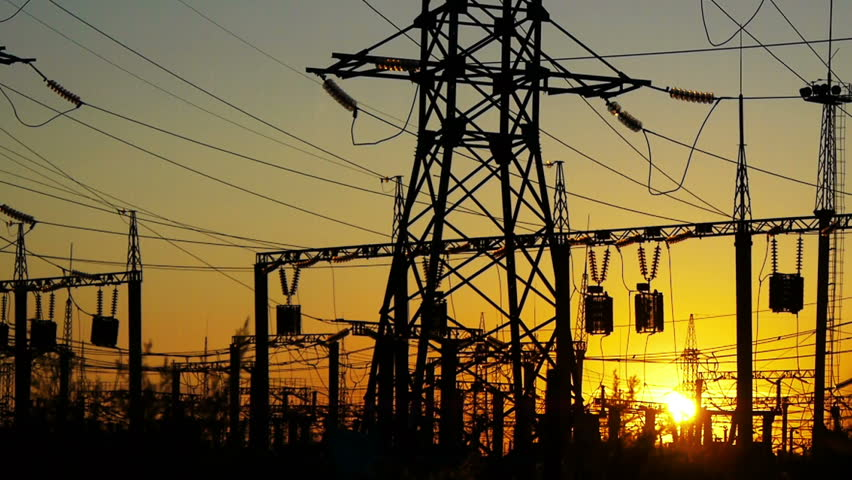 Electricity power station at a sunset
