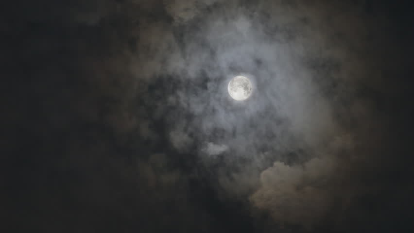 full moon and clouds timelapse - HD stock footage clip