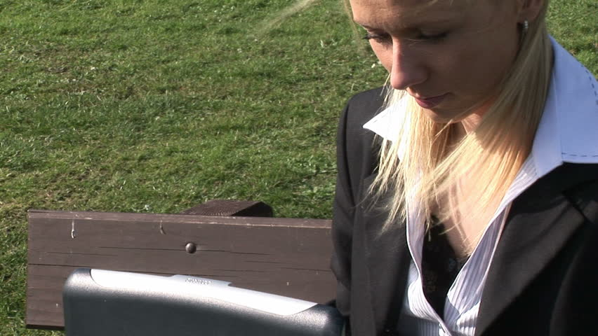 Business Woman Working Outdoors - HD stock video clip