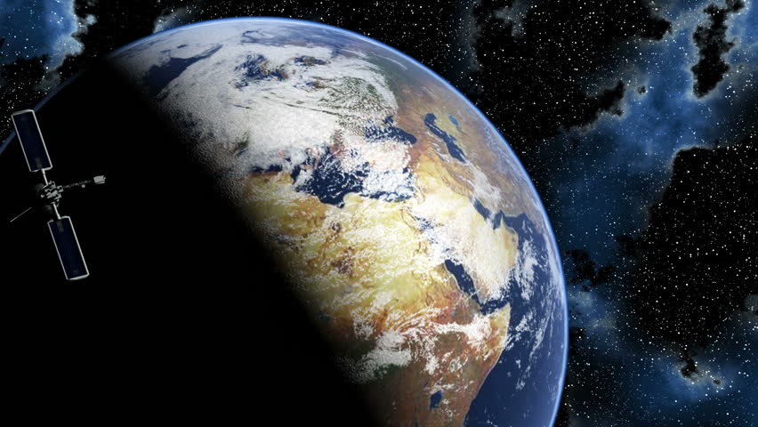Satellites in orbit around a rotating planet Earth in the heavens. - HD stock footage clip