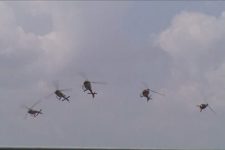 Military helicopter performing in an air show - SD stock footage clip