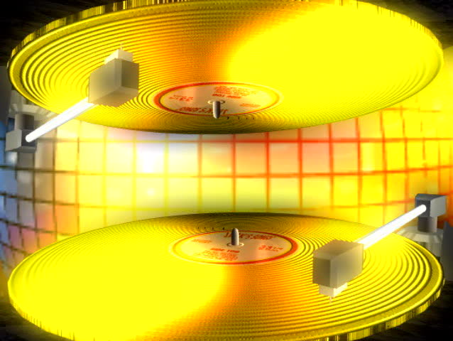 two yellow recored players spinning motion graphic