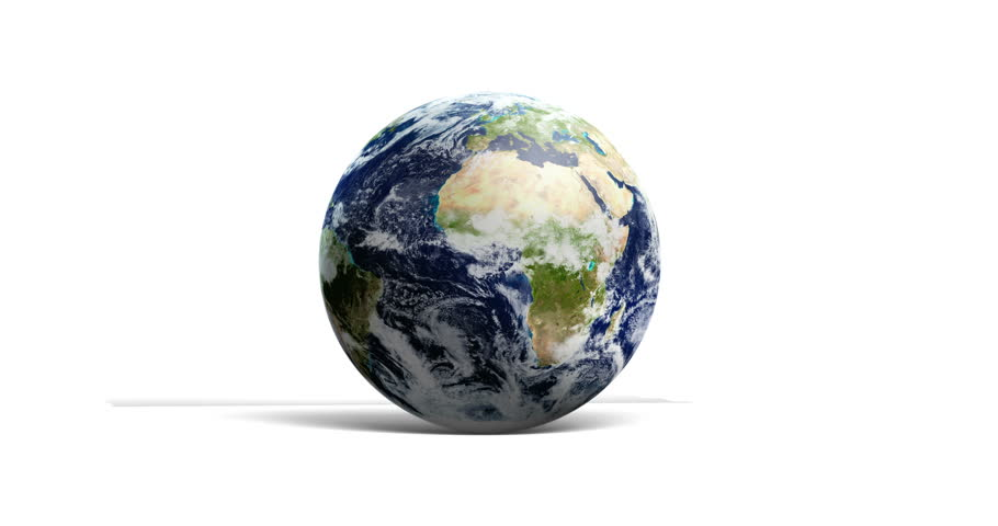 Loopable Spinning Globe Against White in 4 K. Earth animation of spinning blue globe with copy space against white. Loop-ready file in 4 K resolution. World map courtesy of NASA. - 4K stock footage clip