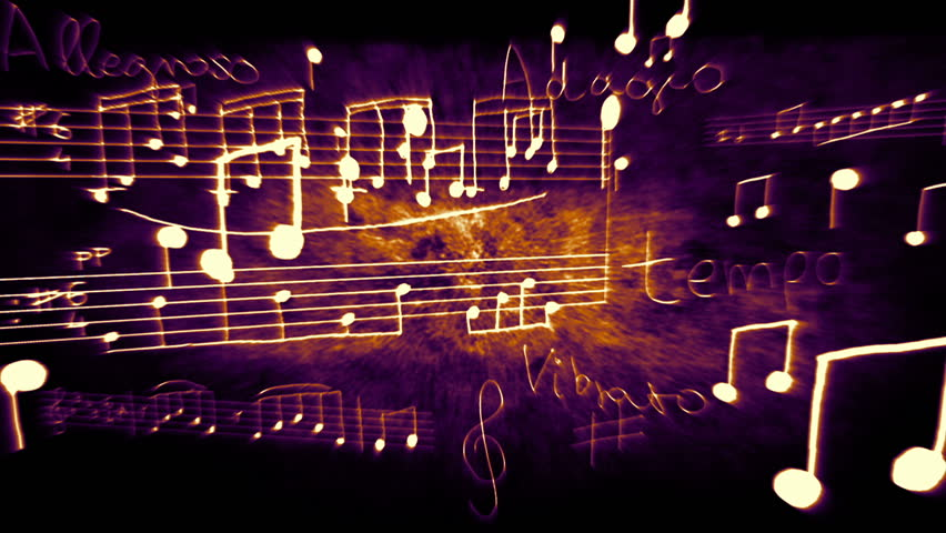 Notes and scores flying/floating in 3D space.   Shutterstock HD Video #1404634
