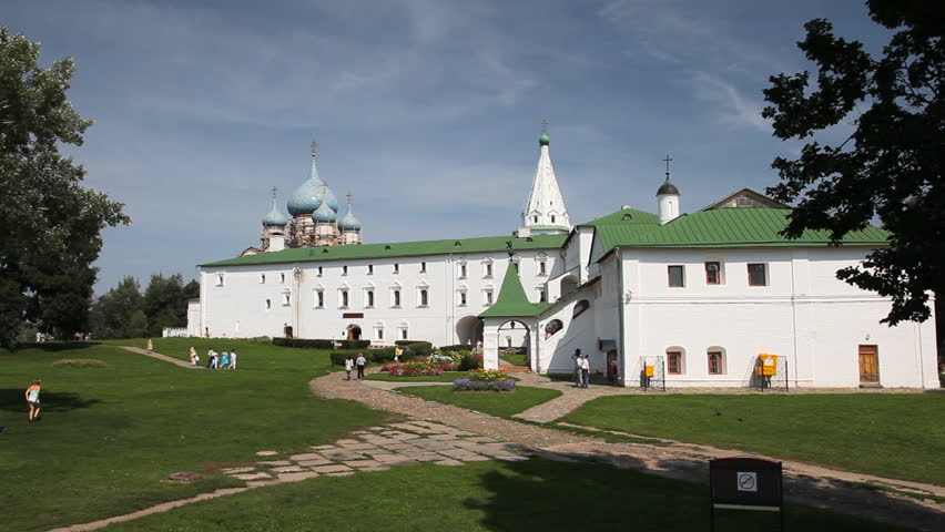 Tourists visit the Kremlin in Suzdal city July 20 2011.  Suzdal is usually called as a jewel in the crown of Russian Golden Ring. - HD stock footage clip