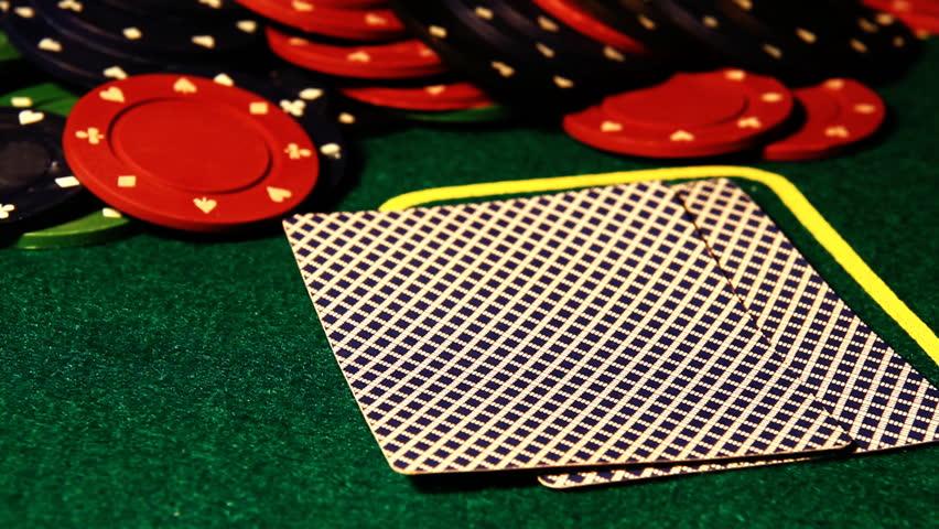 Poker table.Showdown Texas Hold'Em.Double aces. | Shutterstock HD Video #1406443