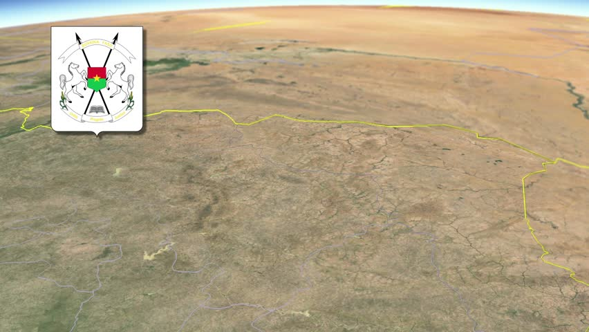 Sahel Region with Coat of arms animation map Regions of Burkina Faso