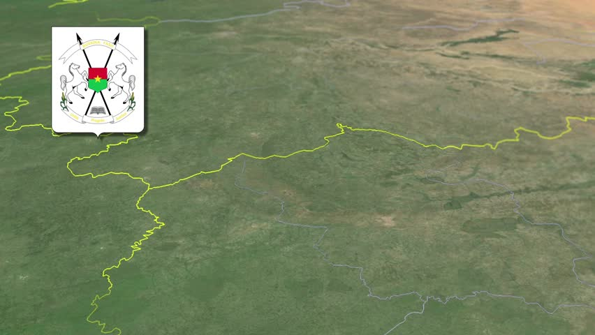 Hauts-Bassins Region with Coat of arms animation map Regions of Burkina Faso