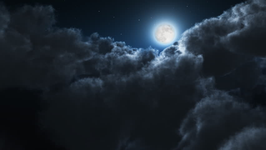Night flight over clouds, loop-able cg animation