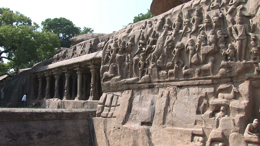 Carved monoliths at the Five Rathas complex in Mahabalipuram India
