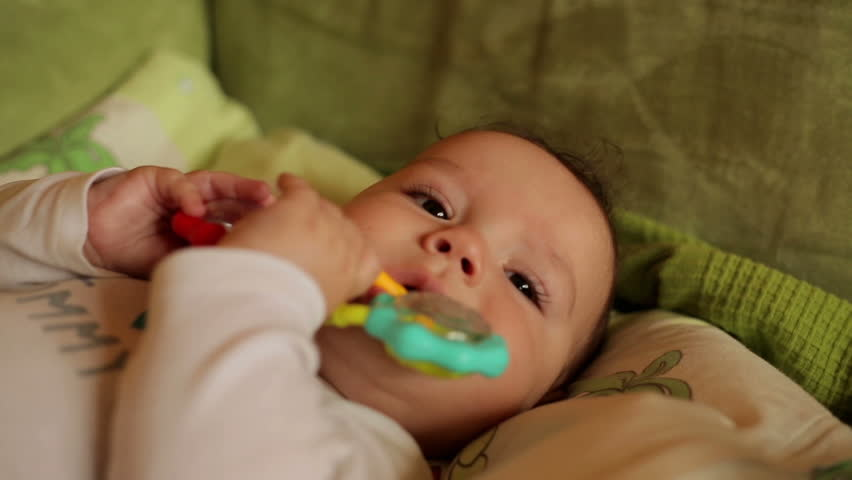 Happy Baby Boy Playing With  Toy - HD stock video clip