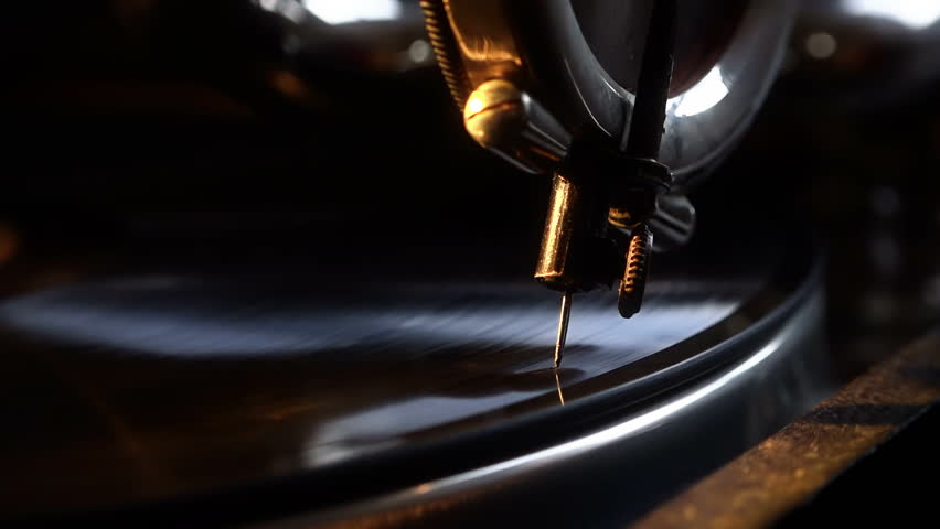 Vintage gramophone.  Old 78 record being played. Closeup on needle.