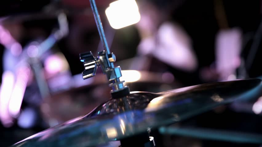 Close up view of hi-hat while drummer plays on the stage - HD stock footage clip
