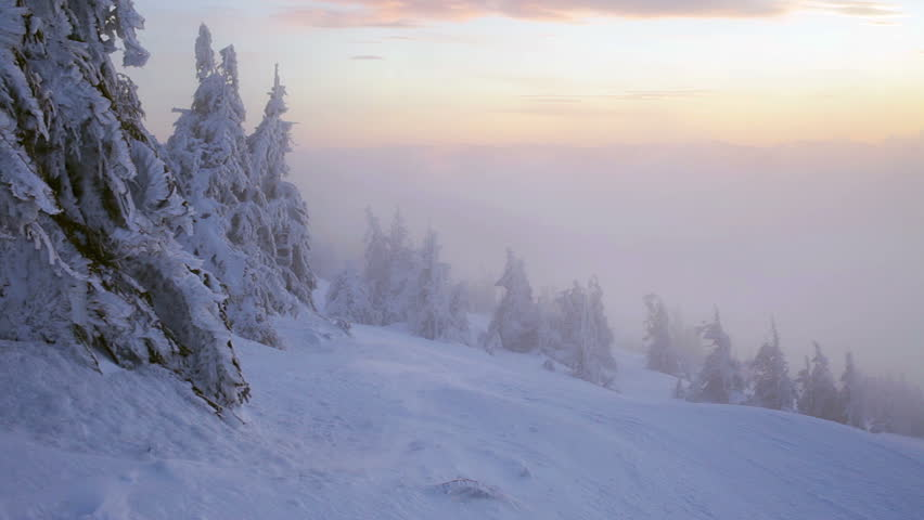 Sunrise in winter Carpathian mountains, Dragobrat, Ukraine. HD | Shutterstock HD Video #14343754