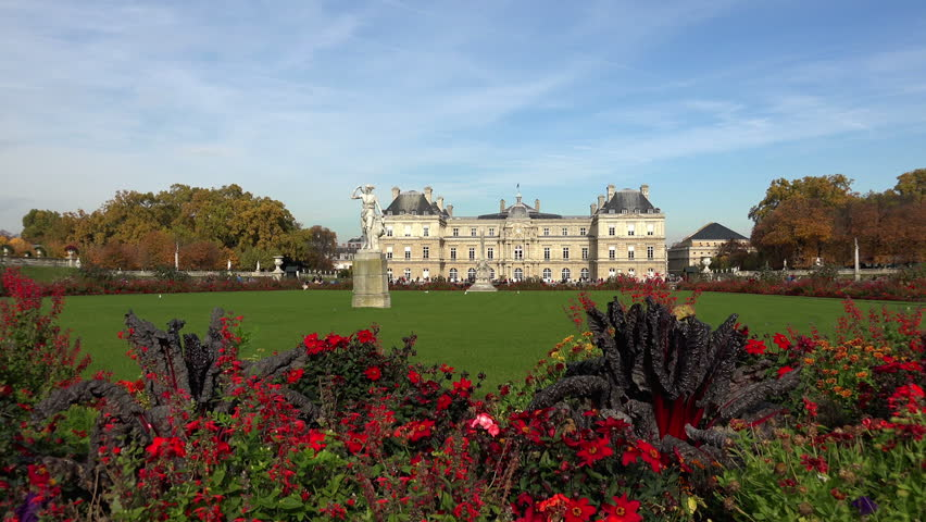 Luxembourg Palace in Paris. France. - HD stock footage clip