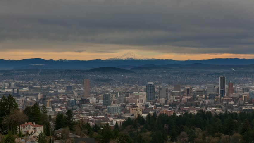 Ultra High Definition 4k Time lapse movie of clouds movement and sky over Mount Hood and downtown cityscape of Portland Oregon 4096x2304 - 4K stock footage clip