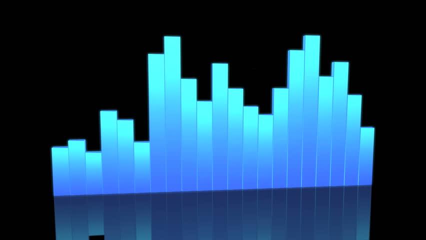 Blue Equalizer Animation, 3d render - HD stock footage clip