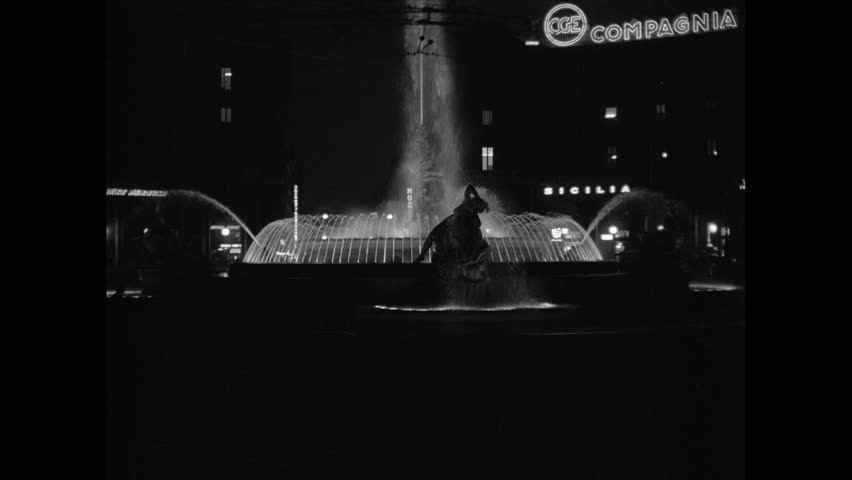 Fountain of Diana illuminated at night. Sicily 1960s