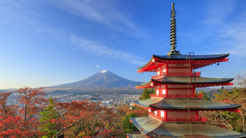 4K Timelapse of Mt. Fuji with Chureito Pagoda at sunrise in autumn, Fujiyoshida, Japan | Shutterstock HD Video #14460367