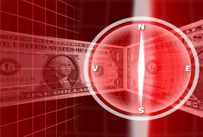 Compass And American Currency - SD stock footage clip