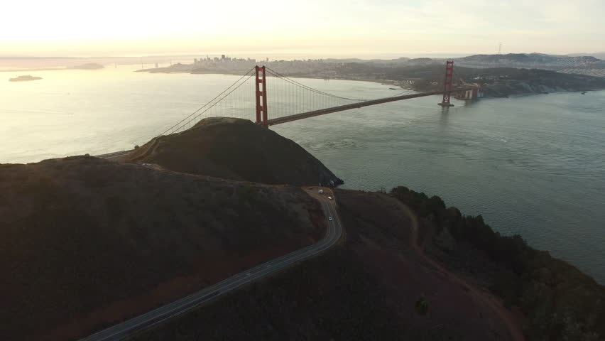 Sunset aerial shof of Golden Gate Bridge in San Fransisco, California
