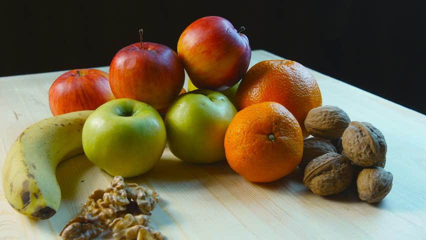 Various fruits close up - 4K stock video clip