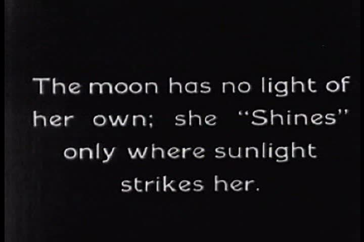 CIRCA 1920s - The moon generates no light but reflects sunlight back to Earth, as explained in this 1920s science film. - SD stock video clip