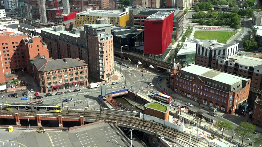 MANCHESTER - ENGLAND, MAY 28, 2015, 4K Timelapse Manchesterof cityscape and traffic car and tramway by day
