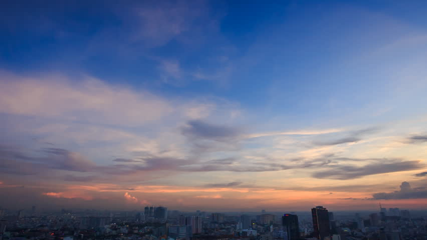 Panorama from pink skyline after sunset to evening city megapolis from skyscraper under grey clouds | Shutterstock HD Video #14534887