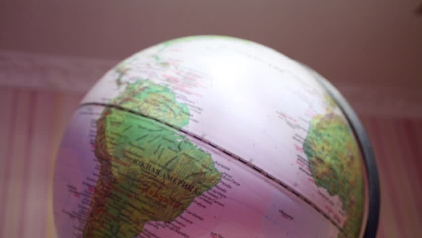 Close-up of globe with shallow depth of field (Text: South America) | Shutterstock HD Video #14551933