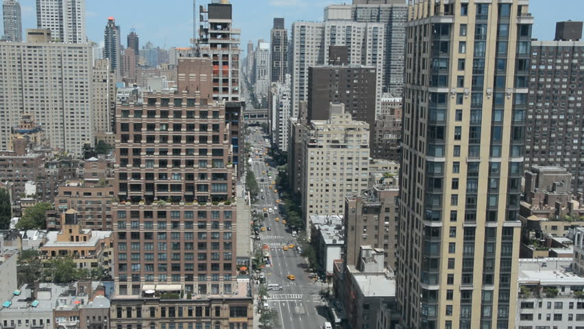 New York City Avenue Aerial View Car Passing Panoramic View Skyscraper Apartment | Shutterstock HD Video #14625805