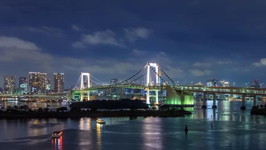 4K Timelapse of rainbow bridge at night, Tokyo, Japan    Shutterstock HD Video #14680012