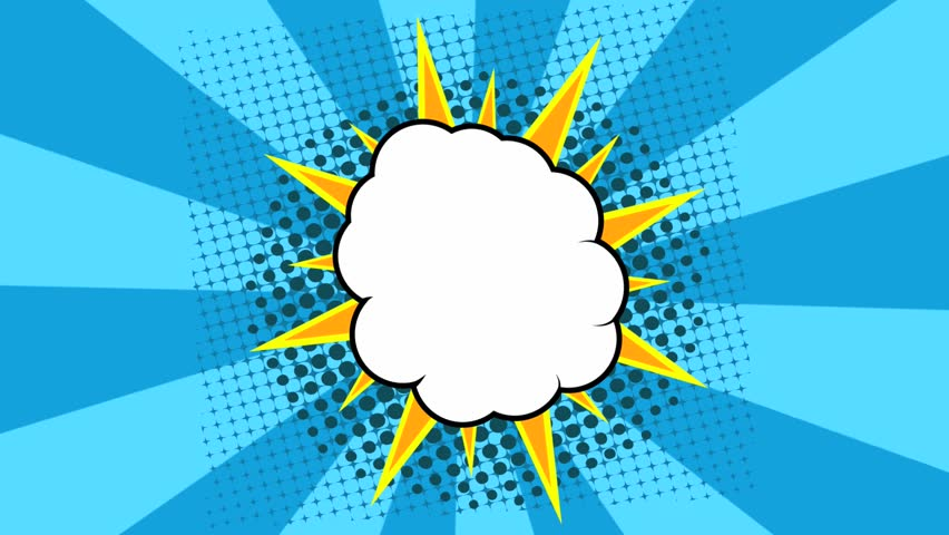 Pop Art Background Animation. Comic Style Cloud On Green