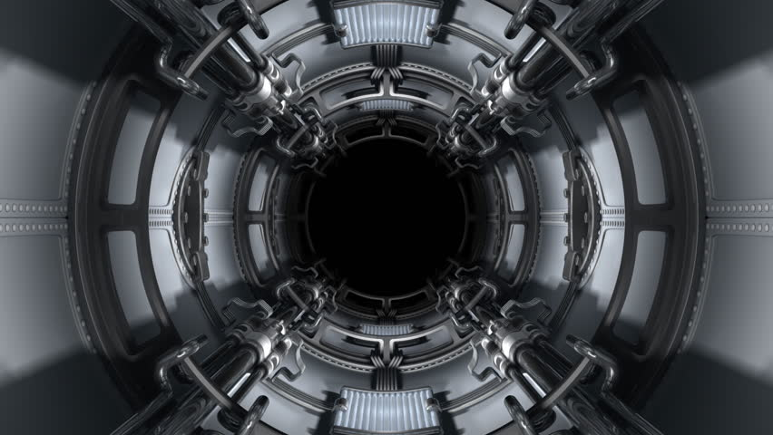 The chamber goes inside a spacecraft. The chamber reaches metal doors. The account begins. The account comes to an end. Doors open. The Alpha Channel is included.  - HD stock footage clip