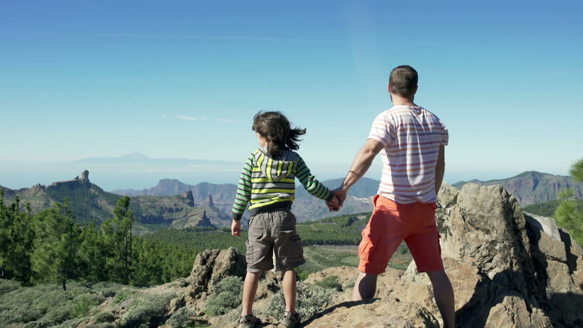 Father standing with the son on the rock and looking joyful  - HD stock video clip
