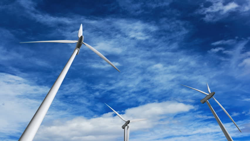 Wind turbines at sunset, green energy. | Shutterstock HD Video #147127