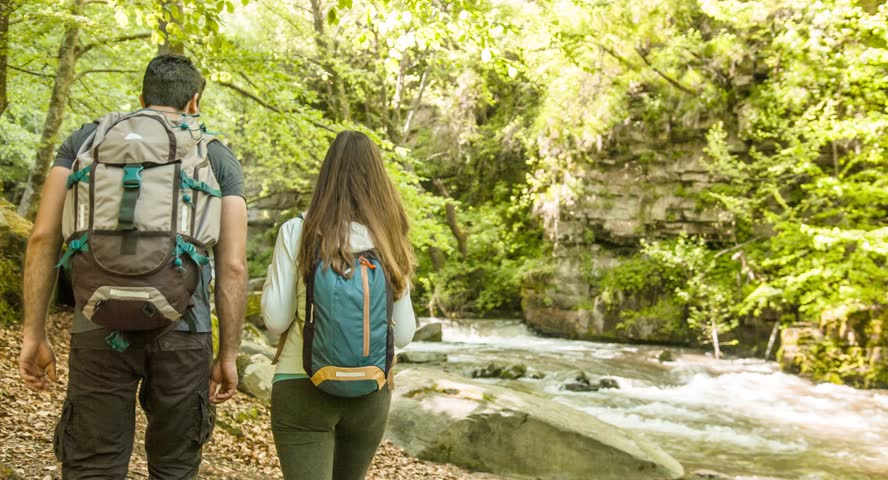 Hiking Couple Exploring Forest River Travel Nature Footage Man Woman Enjoying Adventurous Vacation Beauty Backpacker Tourist #14753290