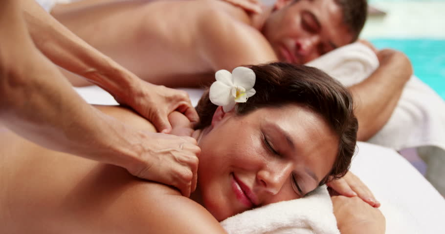 Relaxed couple having massage in a sunny day #14777320