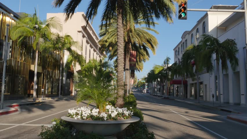 BEVERLY HILLS, CA - Circa February, 2016: An establishing shot of an empty Rodeo Drive in the morning.  	 | Shutterstock HD Video #14793259
