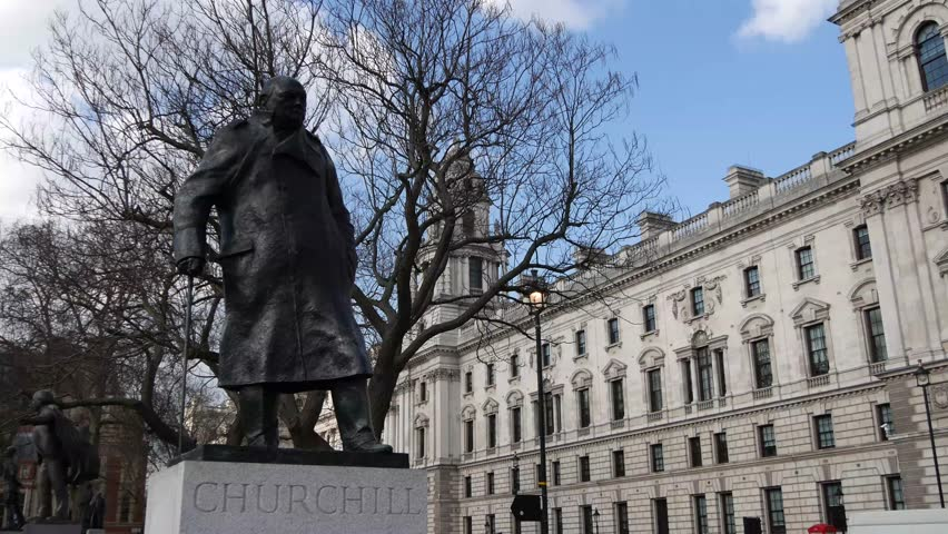 LONDON, UK - 24 JANUARY 2016: 4K Footage of Sir Winston Churchill Statue in London's Parliament Square