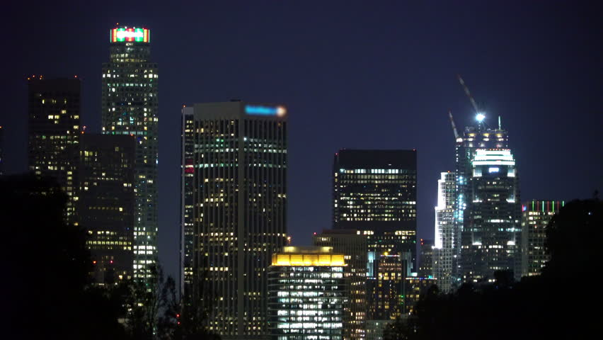 Static shot of downtown Los Angeles skyline at night | Shutterstock HD Video #14874709