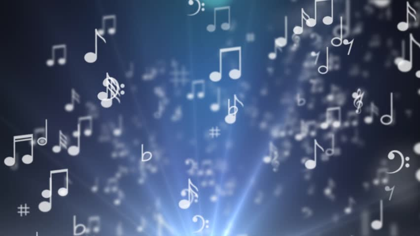 A set of musical notes going into the word MUSIC - HD stock footage clip