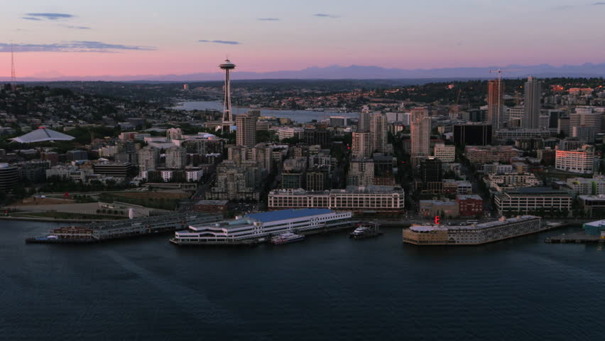Seattle waterfront aerial view in the afternoon from the bay showing buildings just north of the city. UHD footage shot summer 2015. | Shutterstock HD Video #14902573