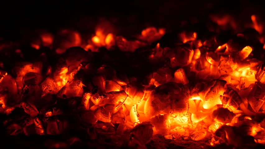 Slow Combustion Fireplace Log Wood Embers And Poker