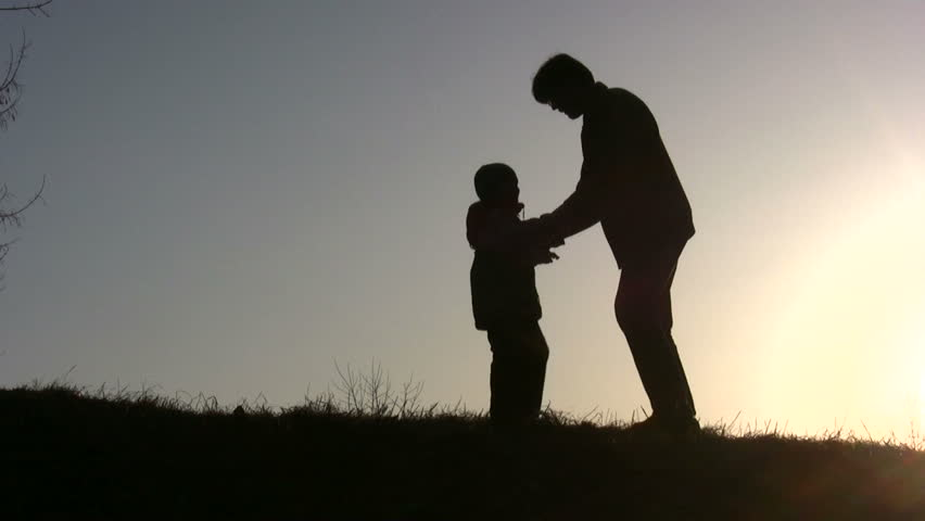 father rotate son sunset - HD stock footage clip