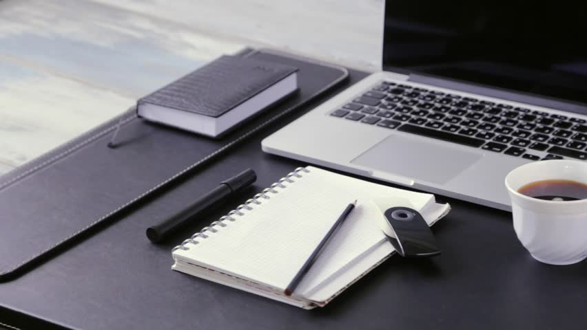 Workspace work desktop black and white business stylish modern space